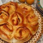 עוגת שמרים במילוי קרם  ריקוטה מסקרפונה ומשמשים