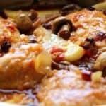 עוף בתנור בתוספת פטריות צימוקים וחמוציות