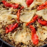 פאייה של אורז ובשר בשילוב ירקות צלויים