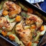 עוף בתנור – מתכון לעוף צלוי בתנור עם תפוחי אדמה ומשמשים
